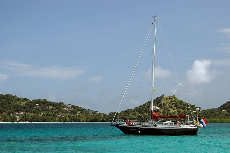 <b>Dutch sailors parked at Sandy Island</b>   (Jul 20, 2004, 03:19pm)  <p align=left>This sailboat is moored near Sandy Island just like we were.  The island in the background in Carriacou.  In this picture, we are looking south.</p>  <p align=left></p>
