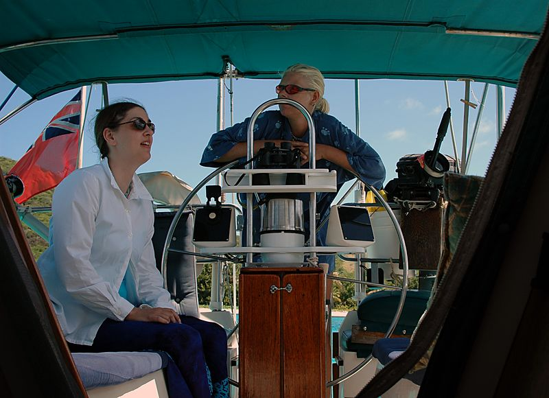 <b>Daphne and Vanessa in Fortitude's cockpit</b>   (Jul 23, 2004, 10:15am)  <p align=left>Before leaving Fortitude, I took a series of pictures to show you what the boat was like.  In this picture, I am standing below deck, in the main cabin, looking out to the cockpit in the back of the boat.</p>  <p align=left></p>
