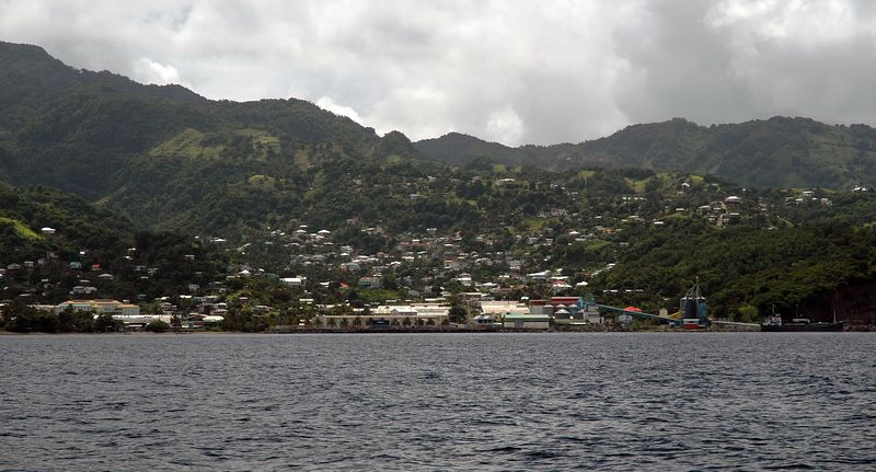 <b>Industrial coast of St. Vincent</b>   (Jul 18, 2004, 10:33am)  <p align=left>We left Petit Byahaut around 10am and sailed south for Bequia.  While we were sailing past the coast of St. Vincent, I took this picture. This is Camden Park Bay, the industrial heartland of St. Vincent.</p>  <p align=left></p>