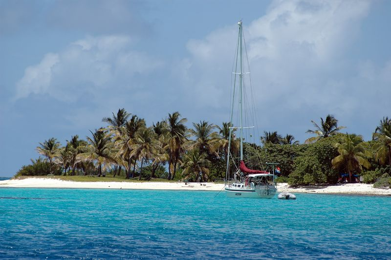 <b>Another sailboat beat us to Petit Tobac</b>   (Jul 22, 2004, 12:21pm)  <p align=left>This is the first picture of Petit Tobac.  Petit Tobac is the fifth island in the Tobago Cays, and the only island on the outside of Horseshoe Reef.  After one night next to Barbadal, Jeremy moved the Fortitude to the northern side of Petit Tobac for the night of July 22nd.</p>  <p align=left>As you can see in this picture, there were a lot fewer boats near Petit Tobac.  Exactly one boat was there when we arrived, and they left soon after.  However, a second boat eventually replaced them by evening.</p>  <p align=left></p>