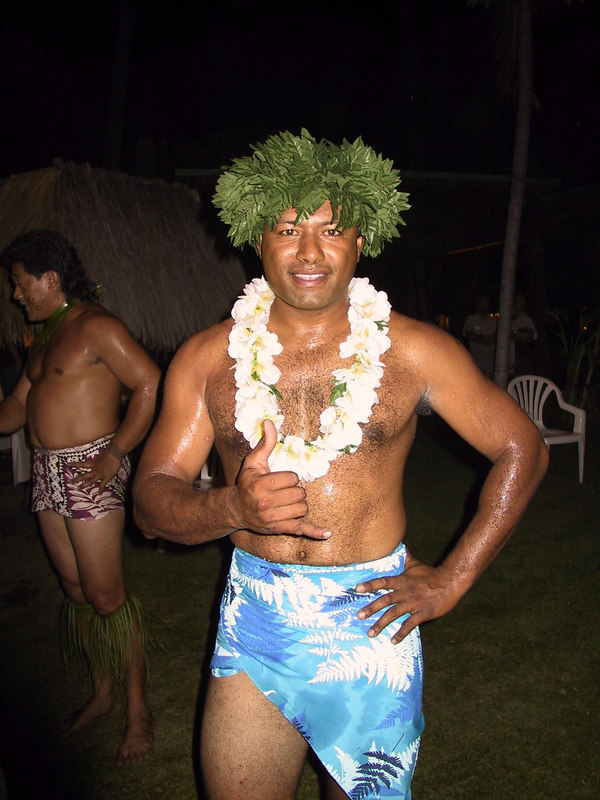 <b>One of the luau dancers poses after the show</b>   (Jul 16, 2001, 08:20pm)