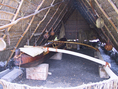 Reconstructed canoe house in Place of Refuge   (Jul 16, 2001, 12:58pm)