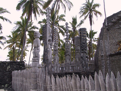 Group of totems at Place of Refuge   (Jul 16, 2001, 12:54pm)