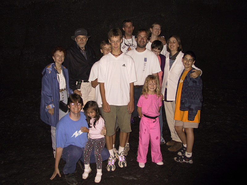 <b>Our group in the dark part of Thurston Lava Tube</b>   (Jul 17, 2001, 02:43pm)