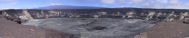 Panorama of Halemaumau Crater inside Kilauea Caldera   (Jul 17, 2001, 12:28pm)