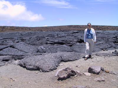 Daphne poses next to September 1982 lava flow   (Jul 17, 2001, 12:50pm)
