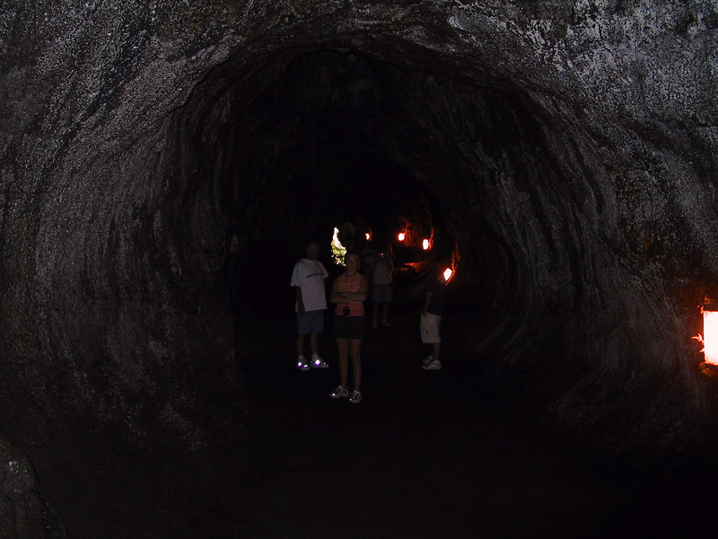 <b>Our group in the lit section of the Thurston Lava Tube</b>   (Jul 17, 2001, 02:25pm)