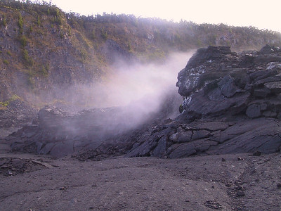 Steam circulates around lava structures in Kilauea Iki creater   (Jul 18, 2001, 07:05am)