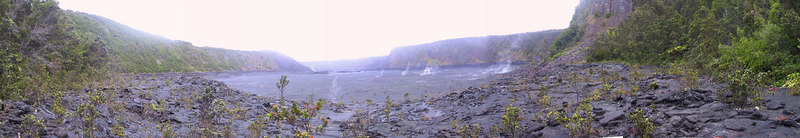 Panorama of Kilauea Iki in early morning from east end   (Jul 18, 2001, 06:41am)