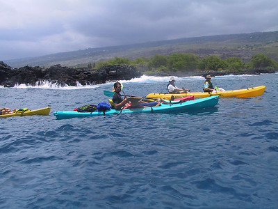 Kayaks going south from Keauhou Bay   (Jul 19, 2001, 01:22pm)