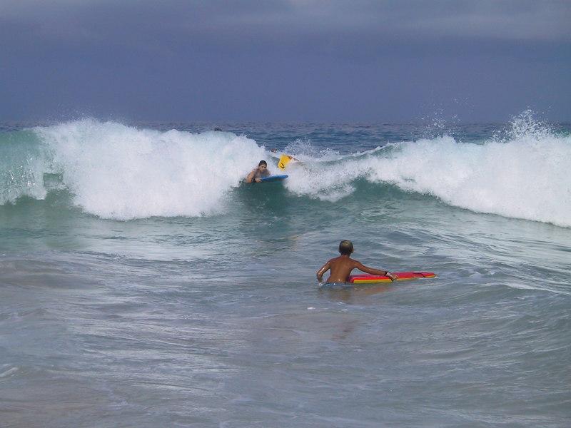 <b>Ben catches a wave on his boggie board</b>   (Jul 19, 2001, 09:11am)