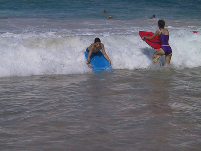 Ben and Beth boogie boarding at White Sands Beach   (Jul 19, 2001, 09:13am)