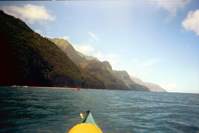 Looking down Na Pali coast from kayaks   (Jul 23, 2001, 09:10am)