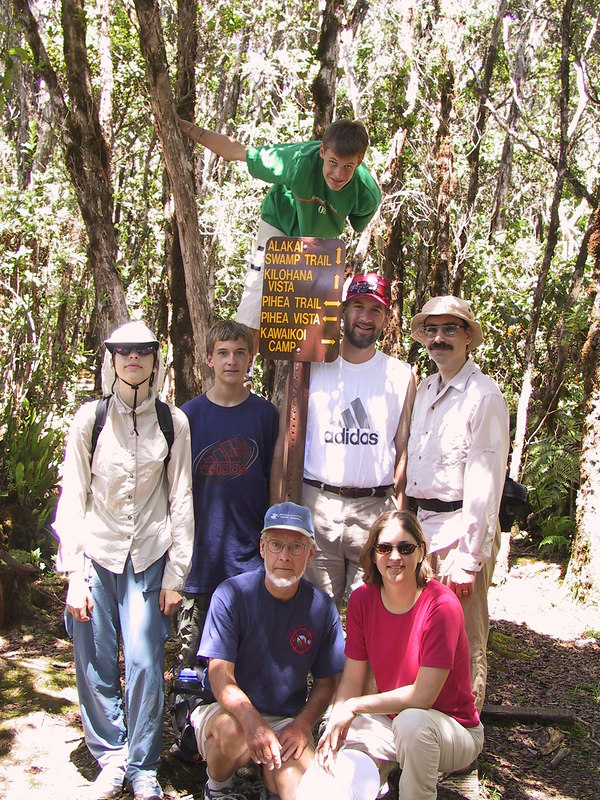 <b>Group pose at our turnaround point on our Pihea Trail hike</b>   (Jul 22, 2001, 01:57pm)