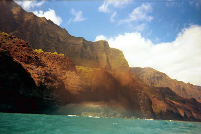 Na Pali coast seen through waterdrops on camera lens   (Jul 23, 2001, 10:40am)