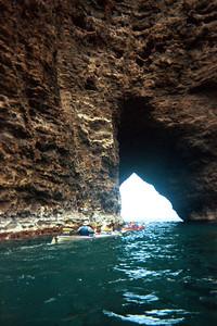Kayaks leaving the grotto for the ooen ocean   (Jul 23, 2001, 11:30am)