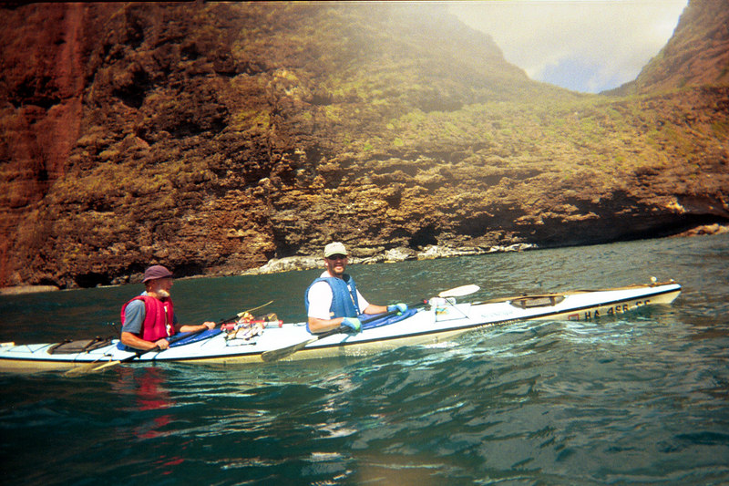 <b>Bill and Damon during Na Pali kayak trip</b>   (Jul 23, 2001, 03:30pm)