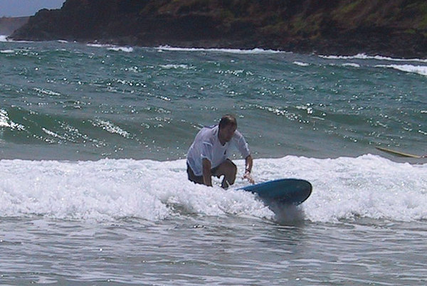 <b>Damon tries to get up on a surfboard</b>   (Jul 25, 2001, 11:32am)