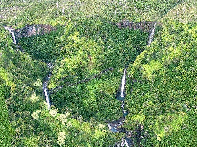 <b>Helicopter view of more waterfalls in Hanapepe valley</b>   (Jul 26, 2001, 02:41pm)