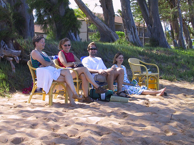 Judy Lori Damon and Daphne watch the kids on Pono Kai beach   (Jul 27, 2001, 03:47pm)