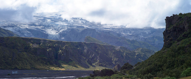 Located at the end of the trail at Þórsmörk, Eyjafjallajökull is the volcano that disrupted European air traffic so badly in 2010.<br /> <br /> Þórsmörk was supposedly the very best place from which to watch the eruption.