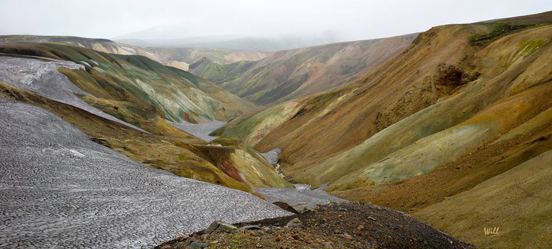 The Landmannalaugar area displays a number of unusual geological elements, like multicolored rhyolite mountains and expansive lava fields.<br /> <br /> The mountains in the surrounding area display a wide spectrum of colors including pink, brown, green, yellow, blue, purple, black, and white.