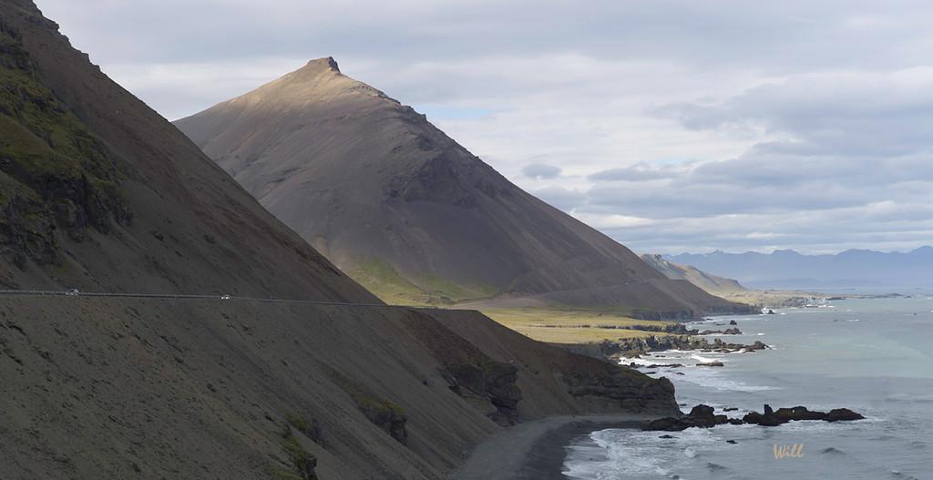 Steep barren mountains between Höfn and Breiðdalsvík in the Eastern Fjords.