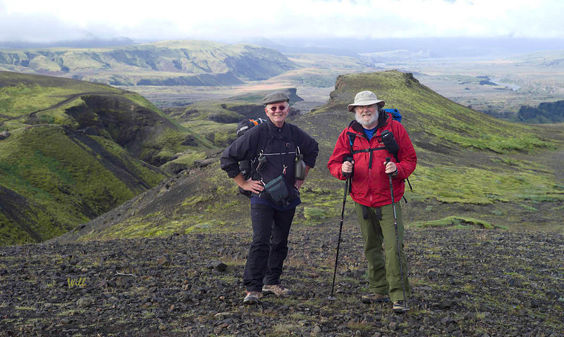 Rob Will and Steve Deering (right) - tired and happy on the final day of the trek. Taken between Emstrur and Þórsmörk.