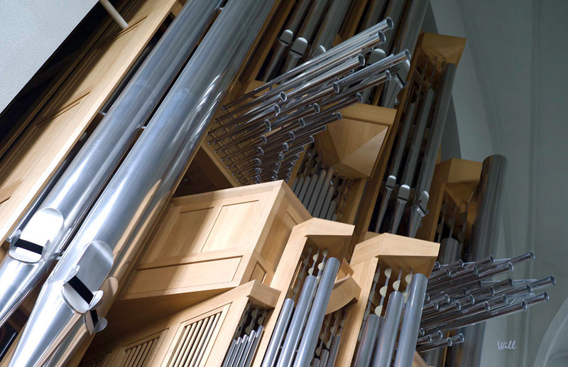 This photo shows part of the collection of 5275 pipes that supply the voice for the pipe organ in Reykjavik's ultra modern Hallgrimskirkja Cathedral.