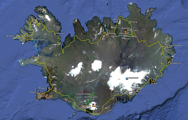 This map shows our driving route around the perimeter of Iceland (yellow), the Baldur ferry from the Western Fjords (blue), <br /> the bus ride to/from the Laugavegurinn Trek (orange), and the Laugavegurinn Trek itself(green).<br /> <br /> We circumnavigated Iceland counter-clockwise in a rental car (approx 2184 km).