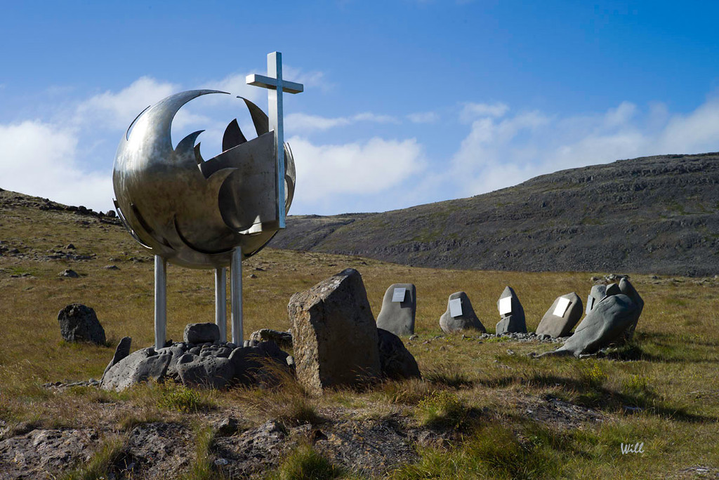 A memorial to ships lost in the Western Fjords.