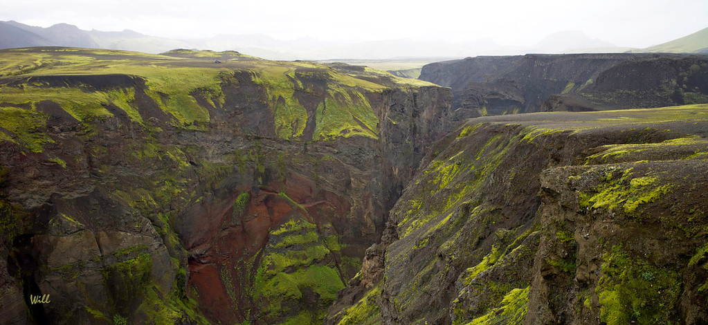 © Robert Will 2013<br /> <br /> Carved by jökulhlaups. To get an idea of the scale of this gorge, see if you can find the SUV parked at the top of the gorge - left side.