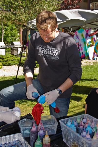 Adam doing tie dye.