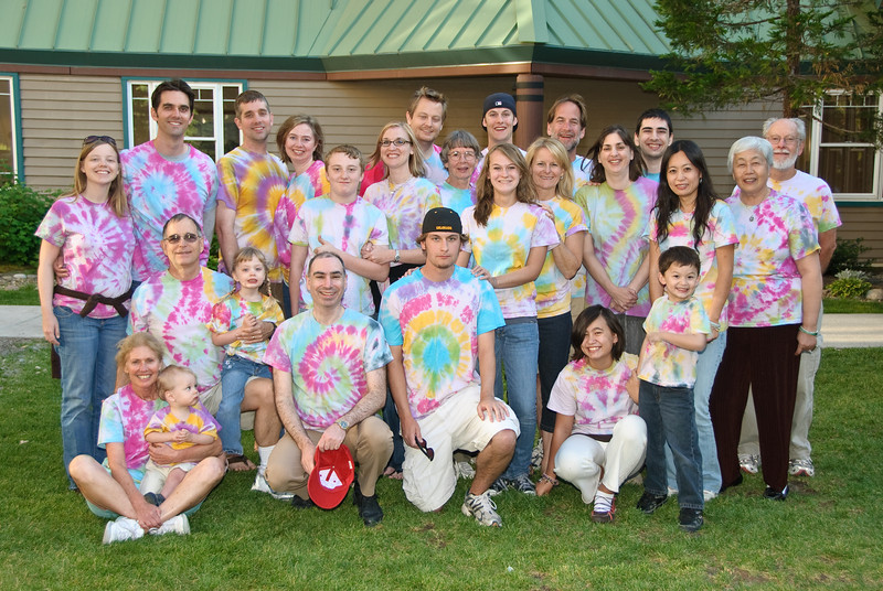 Kraver/Clark group photo all in our tie dye shirts.
