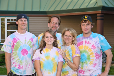 Torin, Heather, Damon, Laurie and Garrett Clark in their tie dye shirts.
