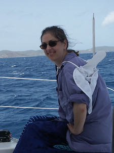 Daphne perched on the back of the boat   (Jul 03, 2002, 11:24am)