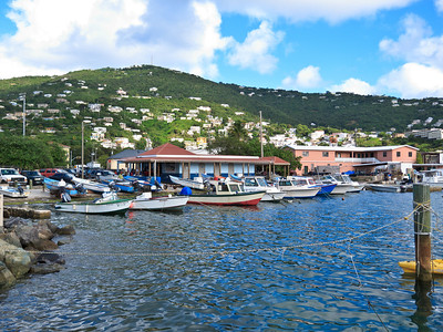 Boats docked at the Frenchtown Marina, just west of Charlotte Amalie, St Thomas