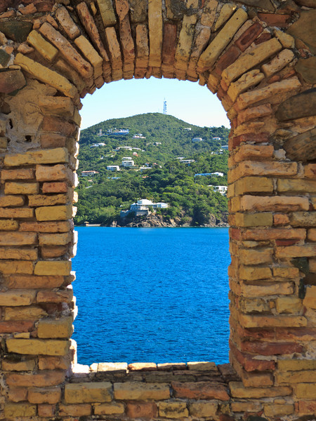 View out a windows at Fort Willoughby on Hassel Island, St Thomas