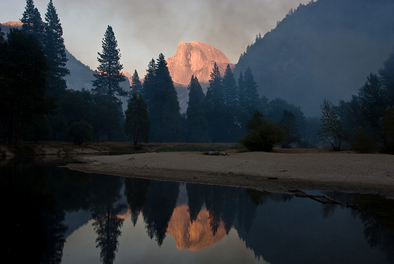<b>Half Dome and reflection at sunset</b><br/>   (Sep 18, 2007, 05:47pm)<br/> (Gallery: Travel Journals > Yosemite 07 > Yosemite Best Pictures)