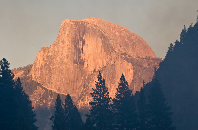 <b>Half Dome at sunset from near Swinging bridge</b>   (Sep 18, 2007, 05:44pm)