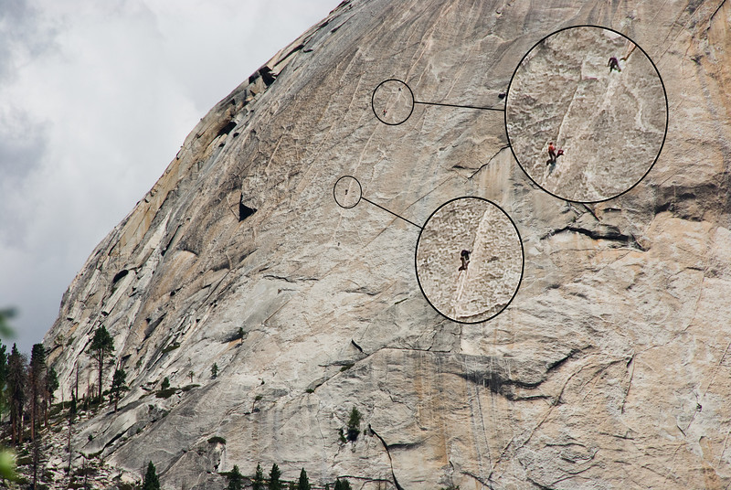Climbers on Half Dome