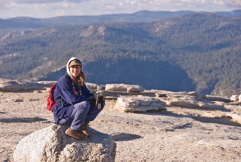 <b>Ranger Donna on Sentinel Dome</b>   (Sep 16, 2007, 04:42pm)  Ranger Donna works in Wawona.  She was also at the top of Sentinel Dome, taking pictures, when we visited the dome to watch the  sun set over Half Dome.