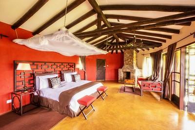 Safari Lodge with walls painted Maasai red...