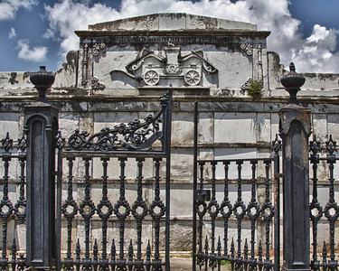 Jefferson Fire Company No. 22 memorial at Lafayette Cemetery in New Orleans. HDR.