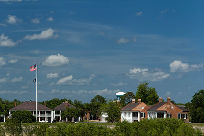 Jackson Barracks, as seen along the mighty Mississippi, from the Steamboat Natchez.