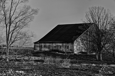 Old Barn in Winter in Black and White
