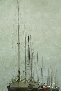Sailboats in drydock