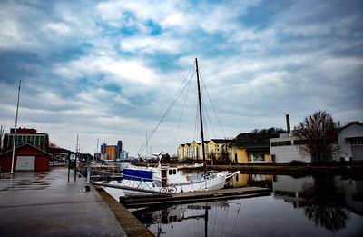 Sailing boat at Uddevalla's marina, Sweden