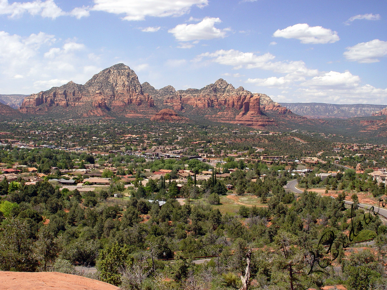 Photo By Robert Bodnar..............................View Of Sedona AZ From top of Rock Formation