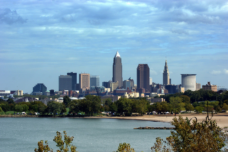 Photo By Robert Bodnar.............Cleveland Skyline with Edgewater Park